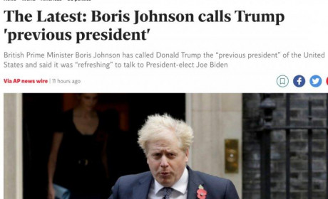 """英首相约翰逊公开称特朗普""""前总统"""" 塑料兄弟彻底崩了"""