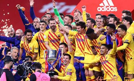 西班牙国王杯巴萨夺冠 梅西担任巴萨队长获得首冠